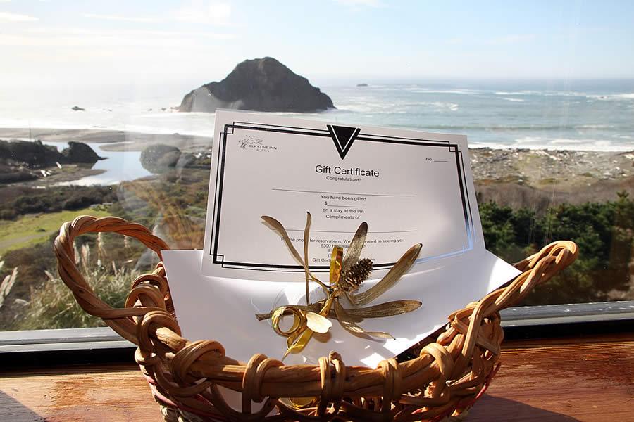 mendocino coast lodging - elk cove inn gift certificate