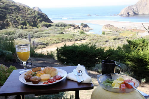 mendocino coast lodging - elk cove inn breakfast outdoors