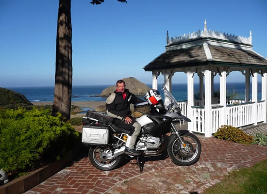 mendocino coast lodging - elk cove inn motorcycle at gazebo