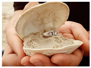 wedding ring in open shell