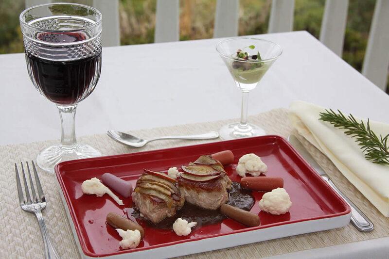 mendocino coast lodging - elk cove inn seafood dinner